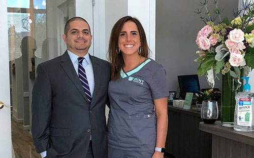 Office Manager Leila with Dr. Arian Hamidi